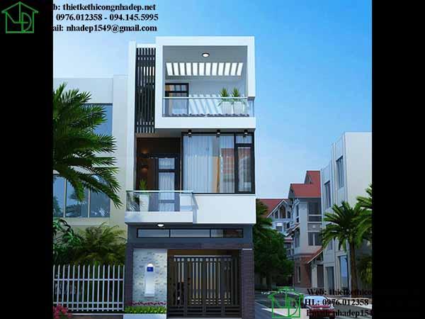 Thiết kế tầng tum cho nhà phố 2 tầng 1 tum hiện đại.