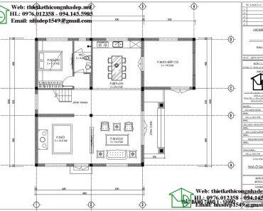 Mặt bằng tầng 1 biệt thự 2 tầng NDBT2T80