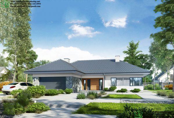 Thiết kế biệt thự vườn 1 tầng mái thái hình chữ L