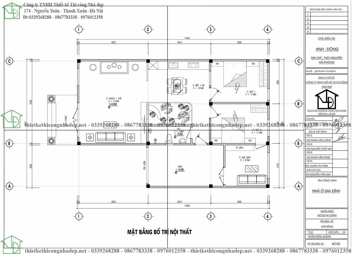 Mặt bằng bố trí nội thất nhà cấp 4 mái thái chữ L