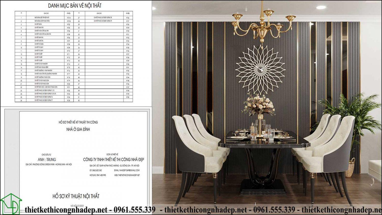 Danh mục bản vẽ thiết kế nội thất và hồ sơ thiết kế nội thất chung cư